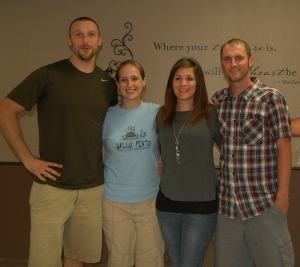 Jered, Jessica, me, and Jake at our going away party at the SBC